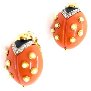 Chic Ladybug Earrings Vintage Kenneth Lane - KJL